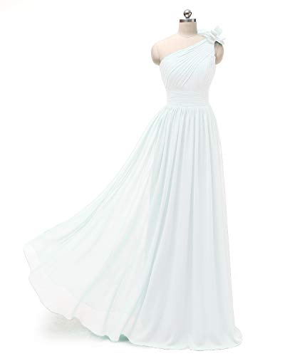 Bridesmaid One Formal Chiffon A White Shoulder Pleated Long Dress Dresses Evening line r8ICqRntxI