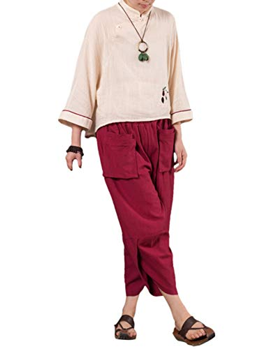 Rosso Signore Besbomig Biancheria Le Vino Harem Sciolto Pantaloni Yoga Gamba Per Larga Escursionismo Hippie All'aperto Estate zz1qnwAZx