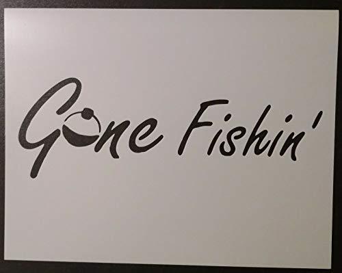Reusable Sturdy Stencil Gone Fishing Fishin Bobber 8.5