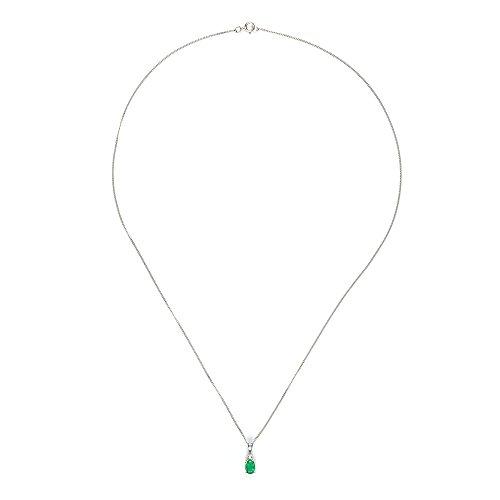 Parure Collier et Boucles d'Oreilles - 181P0641 - 9 - Femme - Or Blanc 375/1000 (9 Cts) 1.406 Gr - Emeraude 0.008 Cts