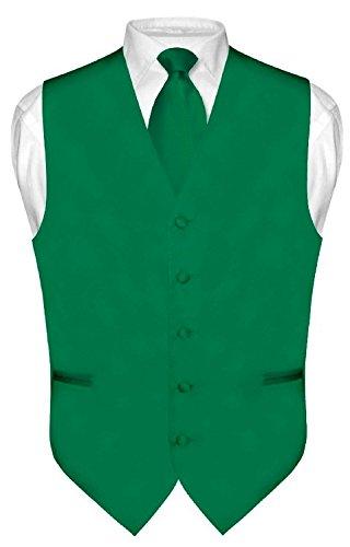 Brand Q Men's Dress Vest NeckTie Pocket Square Set for Suit or Tuxedo (3XL, Green) Necktie Emerald Green