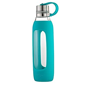 Contigo Purity Glass Water Bottle, 20 oz, Scuba With Silicone Tether