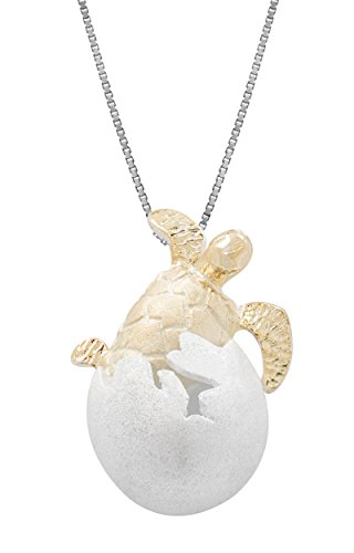 Sterling Silver with 14k Gold Plated Turtle Honu Hatchling Necklace Pendant with 18