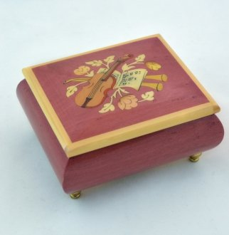 Made In Italy Sorrento Wine red violin inlay music box - Music Box Dancer (Sankyo 18 Note)