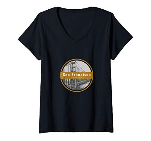 Womens San Francisco, California Golden Bridge World Travel V-Neck T-Shirt