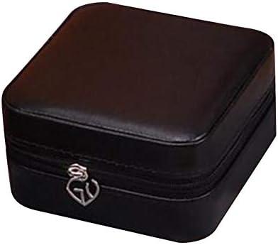 ZYYXB Sieraden Box Organizer PU Lederen Sieraden Case voor Ringen Oorbellen Kleine Reizen Sieraden Case met Ritsen Ketting Organizer zwart