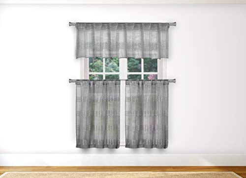 36 Brushed Linen - Home Maison  - Loretta Semi Sheer Faux Linen Striped Kitchen Tier & Valance Set | Small Window Curtain for Cafe, Bath, Laundry, Bedroom - (Silver)