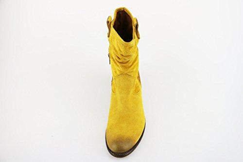 MANAS Botines mujer amarillo gamuza AH913