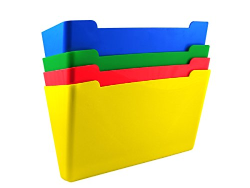 US-Works 27926 Wall File Pocket44; Assorted - Letter Size - Pack of 4 by US-Works