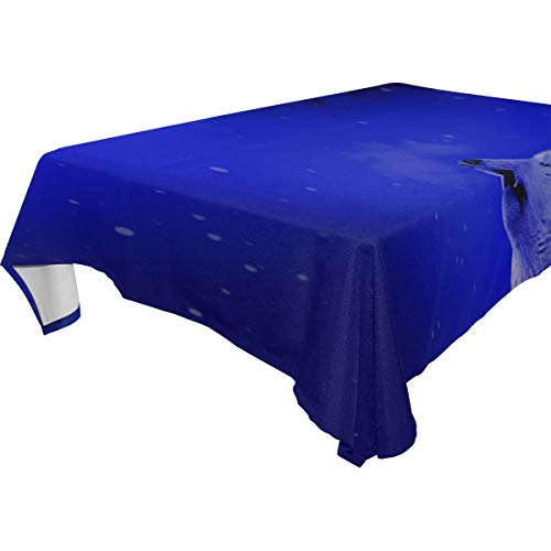 MAXM Wolf Howl Loneliness Rectangular Tablecloth for Dinner,Kitchen,Party,Picnic,Wedding,Restaurant Or Banquet Use,Fall,Holidays,Thanksgiving,Halloween,Christmas,tablecovers Spread,54x72 Inch ()