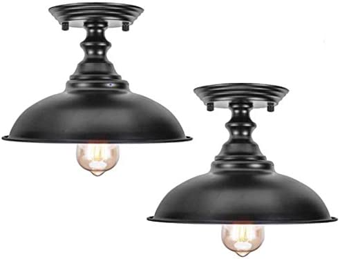 HMVPL Semi Flush Mount Ceiling Lights, Farmhouse Close to Ceiling Lamp Metal Black Pendant Lighting Fixture Industrial Edison Light for Kitchen Island Dining Room Foyer Hallway Entryway Set of 2
