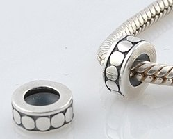 Pro Jewelry (Set of 2) .925 Sterling Silver Round Stopper with Rubber Beads Compatible