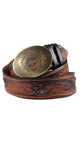 (HoffeBelts Custom Personalized Unisex Creative Hand-Made Brown Full Grain Leather Belt