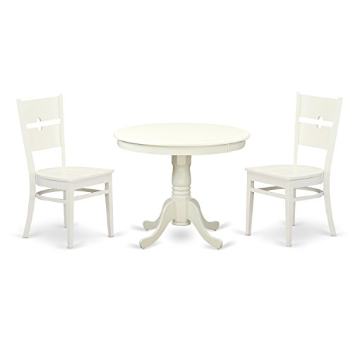 East West Furniture ANRO3-LWH-W 3 PC Set with One Round 36in Dinette Table & 2 Solid Wood Seat Dinette Chairs with A Beautiful Linen White Finish