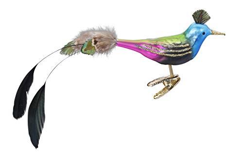 Inge-glas Clip-On Bird Funky Bird 10147S019 German Glass Christmas Ornament
