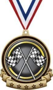 レーシングメダル - 2.5インチ ゴールド チェッカーフラッグ レースメダル賞 赤 白 青 ネックリボン付き 素晴らしいカーレース賞 プライム