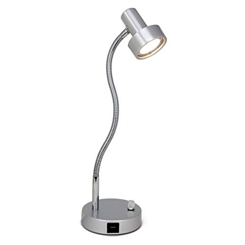 Flexible Led Usb - O'Bright Dimmable LED Desk Lamp with USB Charging Port (5V/2A), Full Range Dimming LED, Table Lamp with USB Charger, Flexible Gooseneck, Office Desk Lamp/Bedside Lamp, Vintage Design (Aluminum)
