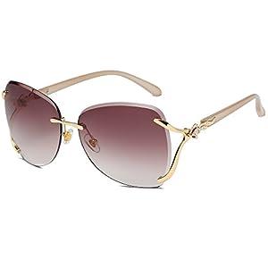 VOLCHIEN Diamante Crystal Rimless Sunglasses Foxes Eye Frame Round Lens Sun Glass Metal Frame Sunglasses for Women Men VC1012 (Coffee Lens/Champagne Arm)