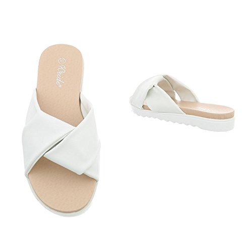 YRT6728 Sandals Flat Ital Mules Women's Design at White a68qwv
