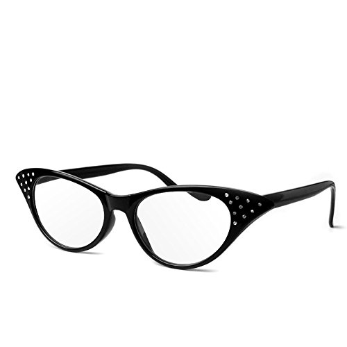 - Wivily Women Rhinestone Cat Eye Sexy Vintage Style Clear Lens Reading Glasses - Black (+2.5)