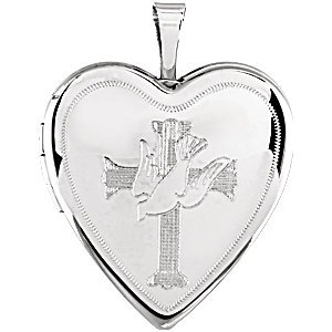 Médaillon Coeur avec Croix et colombe
