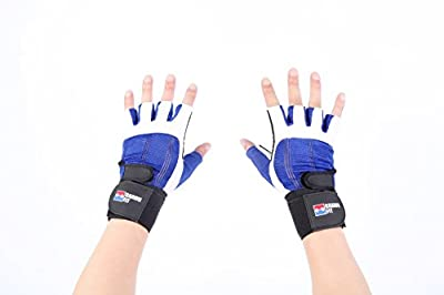 "2-in-1 Premium Leather Weightlifting Gloves with 12"" Integrated Wrist Support Double-Stitched for Men and Women"