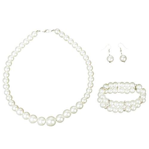(SODIAL(R)Bridal Wedding Party Faux Pearl Necklace + Earrings + 2-Row Bracelet)