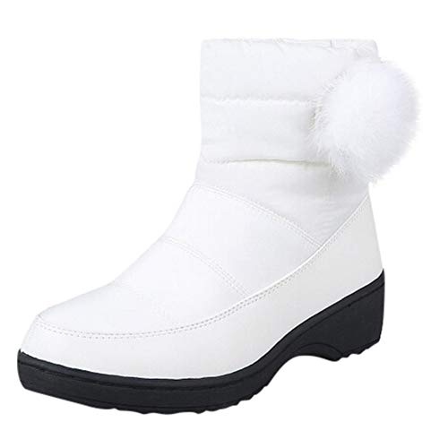 ZYEE Women's Shoes Ladies Round-Toe Shoes Middle Heel Solid Color Short Boots