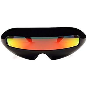 Futuristic Cyclops Mirror Single Lens Oval Sunglasses (Red Sunset Lens)