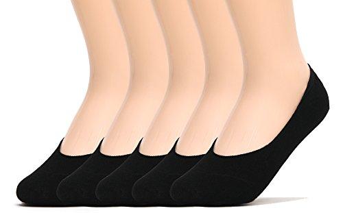 Sockstheway Mens Anti-Slip No Show Socks, Best Low Cut Liner Socks (Black, 5P)