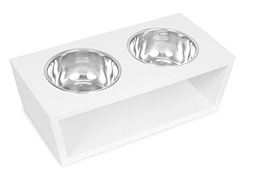 Internets Best Modern Elevated Pet Feeder - 2 Medium Dog Bowls - Decorative Raised Stand with Double Stainless Steel Bowls - White