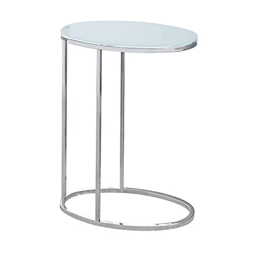 (Pemberly Row Accent End Table in Chrome and Frosted Glass)