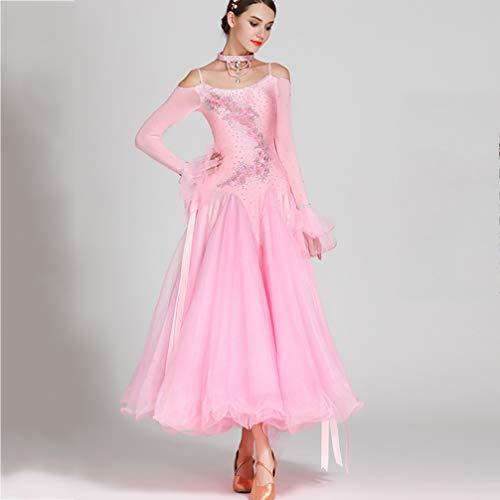 Ballroom Pink xl Modern Spalline Costumi Prestazione Teatrali Standard Da Tuta Abiti Wqwlf Senza Donne Waltz Ballo Concorso S pRT7Tzaq