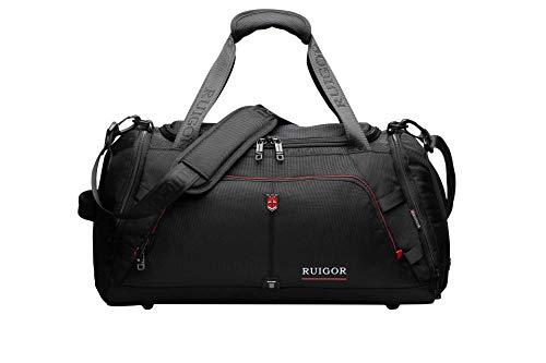 Sport Gym Duffel Bag, Water Resistant, Large Sports Duffel by Swiss RUIGOR – Black