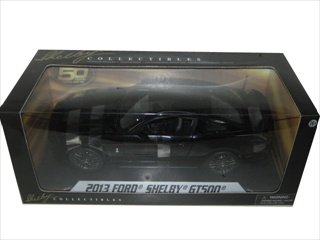 - 2013 Ford Shelby Cobra GT500 SVT Black with Black Stripes 1/18 by Shelby Collectibles SC392