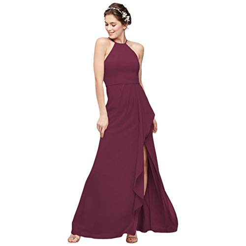 High-Neck Chiffon Bridesmaid Dress with Cascade Style F20014, Wine, 12