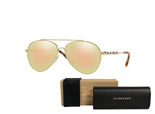 Burberry BE3092Q Pilot Sunglasses For Women+FREE Complimentary Eyewear Care Kit (Brushed Light Gold/Grey Mirror, 57) (Burberry Key Case)