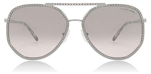 Rhinestone Logo Sunglasses - Michael Kors Women's 0MK1039B 58mm Shiny Silver/Pink Silver Mirror One Size