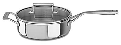 KitchenAid KC2T35EHST Tri-Ply 3.5 quart Saute with Helper Handle and Lid, Stainless Steel, Medium
