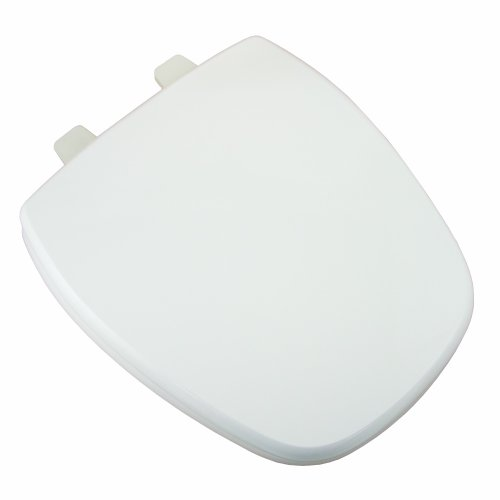 Comfort Seats C1B4R49-00 Deluxe MDF Wood Rounded Toilet Seat and Plastic Hinges, White