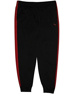 Men's Contrast Tricot Track Sweatpants, Black/Red, XXL