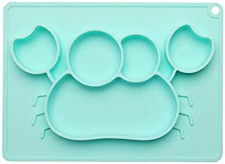 Safe for microwaves and dishwashers Woo-Well Silicone Baby Plate,Non-Slip Silicone Plate Dish Silicone Baby placemat for Children to Have a Happy Meal. FDA-Approved Tableware BPA-Free