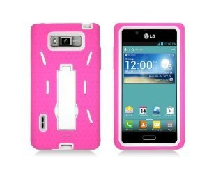 5-in-1 Bundle (Pink+White) Hybrid Duo Shield Tough Armor Case Cover with Kickstand For Straight Talk Net 10 LG Optimus Showtime L86c L86g + Clear Screen Protector + Car Charger + Home Travel Charger + Sync USB Data Cable (Usb Talk Internet Phone Net)