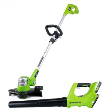 Greenworks 12'' String Trimmer and 24V Blower, Battery & Charger Bundle