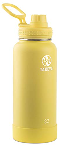Takeya 51175 Actives Insulated Stainless Steel Water Bottle with Spout Lid, 32 oz, Canary