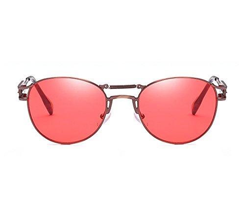 Non Keephen Bronze Lens polarized Spring Jambe Steampunk Nouvelle Metal Retro Frame Rouge Sunglasses t4xPtrqa