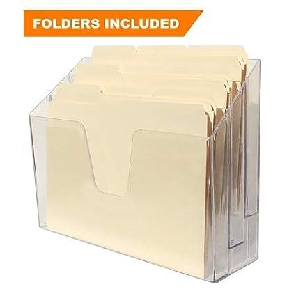 Acrimet Horizontal Triple File Folder Organizer (Folders Included) (Crystal Color) 869.1