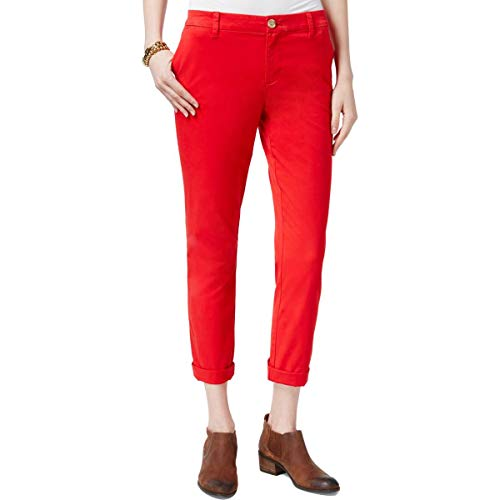 Tommy Hilfiger Womens Hampton Slim Fit Low-Rise Chino Pants Red - Ladies Tommy Jeans Hilfiger