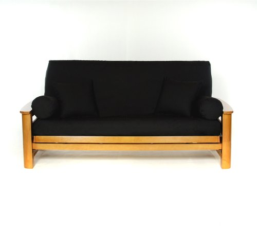 Lifestyle Covers Black Full Size Futon (Futon Cushion)