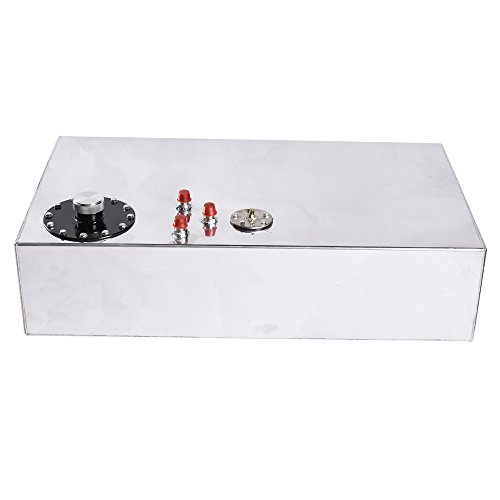17-Gallon Top Feed Fuel Cell Gas Tank Aluminum Polished Racing Street Drift Strip Fuel Cell Tank with Level Sender and (Aluminum Gas Tank)